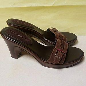 Tommy Hilfiger Brown Slip on High Heel Sandals EUC